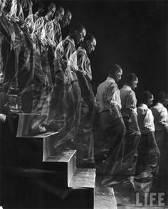 Marcel Duchamp descending a staircase, New York, 1952 for LIFE Magazine by Eliot Elisofon