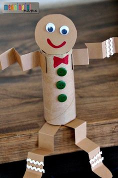 Toilet Paper Roll Gingerbread Man Christmas Craft for Kids.
