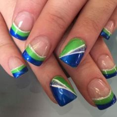 Blue and yellow nail art. San Diego Chargers nail idea ...