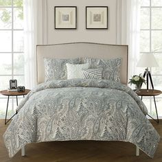 Dynamic Gray Quilted Coverlet & Pillow Shams Set Bedding Fall Tree Monochrome Art Print Quilts, Bedspreads & Coverlets