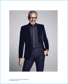 Jeff Goldblum is all smiles in a suiting look from Saint Laurent by Hedi Slimane.