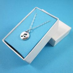 Eighth note cut out dome music charm necklace sterling silver gift box | Thesingingbeader - Jewelry on ArtFire
