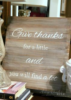 Swap It Challenge - DIY Faux Weathered Give Thanks Sign - artsychicksrule