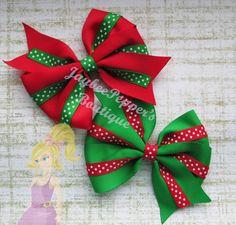 """Christmas Hair bow 4"""" Pinwheel hair clip polka dots red green girls bow"""