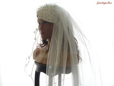 Bridal Veil in Ivory Illision Tulle French Lace by JewelryinBox, $120.00