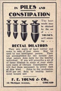 "Dr Young's Rectal Dilators -""May be used by any intelligent person. Butt plug, anyone? Pin Up Vintage, Funny Vintage Ads, Pub Vintage, Funny Ads, Vintage Humor, Vintage Posters, Vintage Photos, Funny Memes, Vintage Ephemera"