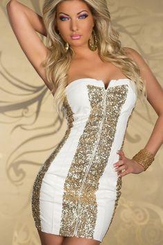 Sparkling Gold Sequin Strapless Cocktail Dress White