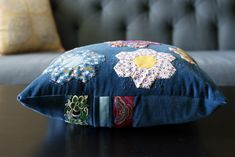 Velveteen Stitches pillow — Stitched in Color How To Wrap Flowers, Pillow Inspiration, Cherry On Top, Paper Piecing Patterns, Quilted Table Runners, Pillow Forms, Blue Bird, Hand Sewing, Color Schemes