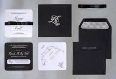 Formal black and white invitations on thick canvas paper, incl. detachable RSVP card with contact details. Black double-atin bow hold invite and map cards together in a lined black envelope with their logo and guest names printed in metallic silver ink. Black Envelopes, Black Tie Wedding, Tie Styles, Canvas Paper, Wedding Album, Save The Date, Rsvp, Stationery, Metallic