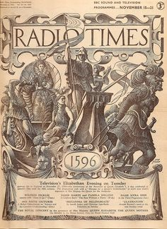 Radio Times cover by Eric Fraser, November 1953 Bbc Magazine, Magazine Covers, Myra Hess, Radio Times Magazine, Vintage Posters, Vintage Graphic, Vintage Tv, Vintage Magazines, British