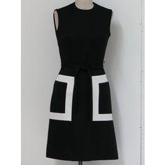 vintage Black and White Striped Dress   Shop > Clothing > Dresses > Day Dresses >