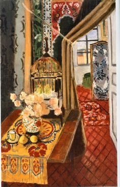 Henri Matisse.  Interior, Flowers and Parakeets, 1924.