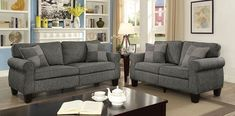 2 pc Rhian light/dark gray linen like fabric sofa and love seat set. This set features a linen like fabric upholstery. Sofa measures x x H. Love seat measures x x H. Furniture Design Living Room, Furniture Of America, Living Room Sets, Sofa, Furniture, Fabric Sofa, Fabric Sectional Sofas, Sofa Set, Grey Sectional Sofa