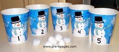 cotton balls and party cups for counting via www.pre-kpages.com/winter/