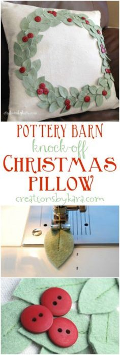 43 DIY Room Decor Ideas for Decorating Your Home - Pottery Barn Knock Off Christmas Pillow