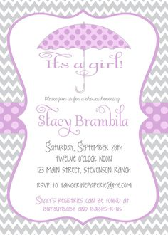 Chevron Stripe Invitation for Baby or Bridal by TangerinePaperie, $14.00