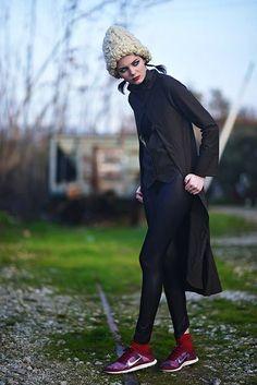 #coat #vest #tailcoat Photographer \ Peny Giannakou Styling \ Nikos Zanas Mua \ Dionissia Konstantinou Hair Stylist \ Eleni Moungouli Model \ Marlen Suzanne Fjeldstad (ACE models)  Two Pieces Coat \ #Ioli Michalopoulou @ #B38  Leggings \ Athina Korda Shoes \ Nike