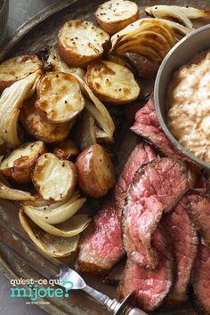 Bifteck épicé avec pommes de terre et oignons rôtis #recette Roasted Potatoes And Onions, Beef Round Steak, Sour Cream Sauce, Sauce Barbecue, Potato Onion, Cooking Instructions, What To Cook, Original Recipe, Meal Planning
