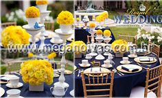 Amarelo e azul marinho, sofisticado