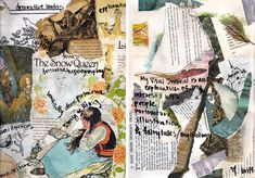 Collecting, ripping and arranging a range of images, textures and surfaces can provide a creative base upon which to write and draw further ideas. These pages from a visual journal explore ideas related to illustration, fairytales and mythology.