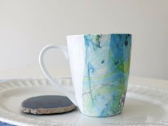 Marbled Coffee Cup with Nail Polish via homework | carolynshomework.com