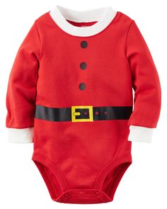 'Tis the season for cozy bodysuits crafted with ribbed cuffs and santa suit graphics to keep baby festive and comfy.