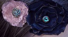 Headband with Black Taffeta Rose, Copper Lace Rose and Vintage Buttons