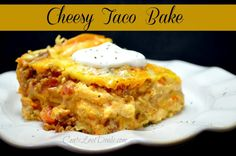 Cheesy Taco Bake - 1# ground beef fried with 1 pkt taco seasoning, drain grease. Beat 2 - 8 oz cream cheese with 1 c Salsa.  Toss together 2 c pepper jack and 2 c cheddar shredded cheeses. Heat together 1 can Rotel tomatoes w/chiles and 1 can refried beans.  Layer a 9x13 sprayed dish with first one-half of meat, then flour tortillas to cover, then beans, then salsa, then cheese and repeat layers. Bake 350 for 30 min. Garnish with sour cream.