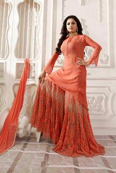 Orange wedding wear Indian designer palazzo kameez suit