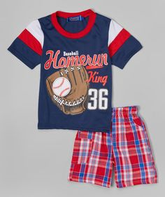 Take a look at this Navy 'Home Run' Tee & Plaid Shorts - Infant, Toddler & Boys on zulily today!