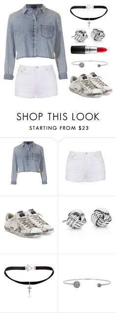 """""""Untitled #1611"""" by claireyim ❤ liked on Polyvore featuring Topshop, Ally Fashion, Golden Goose, Blue Nile, Yves Saint Laurent, Chan Luu and MAC Cosmetics"""