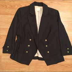 Anthropologie Black Blazer Awesome black blazer with cute Royal/sailor designed buttons. Slight discoloration by neckline (not visible when on), but otherwise in perfect condition. Great to throw on for work or over a simple dress/tee! Anthropologie Jackets & Coats Blazers
