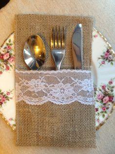 Cutlery Napkin Holder Wedding Rustic Vintage Shabby Chic Burlap Lace Hessian