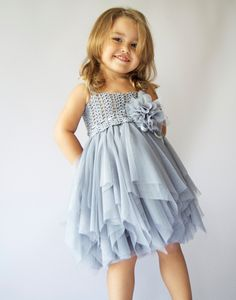 Baby Tulle Dress with   Stretch Crochet Top and playful tulle