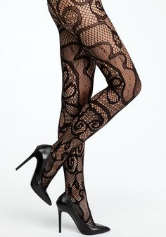 bebe   Open Floral Pattern Tights - Hosiery & Intimates