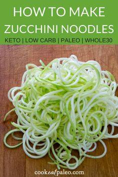 Zucchini is a quick and easy gluten-free, grain-free, paleo pasta alternative—you don't even have to cook the zoodles! Zucchini pasta works well with just about any sauce and also makes a great cold salad. Perfect for a healthy dinner or quick lunch! -- #easydinner #weeknightdinner #paleodinner #paleorecipes #easylunch #paleolunch #cookeatpaleo