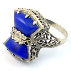 14K Antique Art Deco Blue Lapis Lazuli Filigree Ring