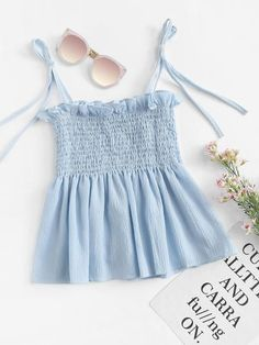 Shop Frill Trim Pleated Cami Top at ROMWE, discover more fashion styles online. Cute Dress Outfits, Best Casual Outfits, Cute Comfy Outfits, Crop Top Outfits, Cute Summer Dresses, Cute Dresses, Cool Outfits, Girls Fashion Clothes, Teen Fashion Outfits