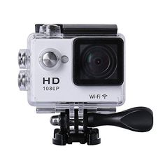 """1080p Wifi Sports Cam,2"""" LCD Display 30M Waterproof Portable PC Camera Full HD HDMI Video DV Action Sports Camera with Batteries and Accessories (White)"""
