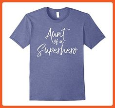 Mens Aunt of a Superhero Shirt Childhood Cancer Awareness Tee Large Heather Blue - Superheroes shirts (*Partner-Link)