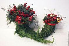 Башмачок лесного Эльфа - зелёный,рождественский сапог,подарок на новый год