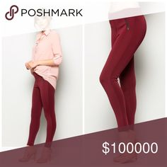 Burgundy zipper detail mid rise skinny pants💋 Lined elastic waistband Mid-rise bottoms Skinny fit Angled zipper design Pants Skinny
