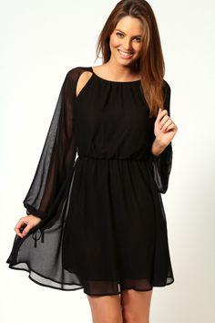 Sophia Split Sleeve Georgette Dress  $40.00   BooHoo.com