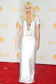 Gwen Stefani in an Atelier Versace silver gown - The Emmy Awards 2014