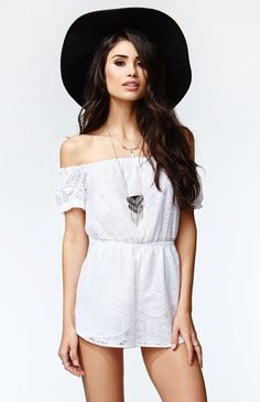Hooked on Short Sleeve Off Shoulder Romper that I found on the PacSun App