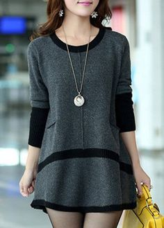 Patchwork Design Long Sleeve Pocket Mini Sweater  on sale only US$33.05 now, buy cheap Patchwork Design Long Sleeve Pocket Mini Sweater  at lulugal.com