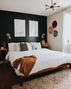 Home Interior Salas Revamped Bedroom You Guys black, white, and wood accents are giving me life. Soon enough every room is going to have a black feature Bedroom Inspo, Home Decor Bedroom, Guy Bedroom, Black Bedroom Decor, Black Master Bedroom, Black Bedroom Walls, Black Wallpaper Bedroom, Budget Bedroom, Design Bedroom
