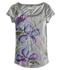 Sequined floral scoop-neck tee from Aeropostale