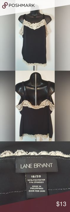 """18/20 2x black & cream lace camisole Lane Bryant Lane Bryant  18/20 Light blue & cream lace tank 95% polyester, 5% spandex Bust: 43"""" - arm pit down: 13.5"""" Straps: 10-18""""  I have the same tank in light blue & cream, check it out. :)  Please check my other listings for more.  I am pretty motivated to clean out my closet so please make offers and bundle!!  30% off 3 or more!! Lane Bryant Tops Camisoles"""