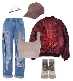 """DENIM x PABLO"" by alexannaloro on Polyvore featuring Vianel and adidas Originals"